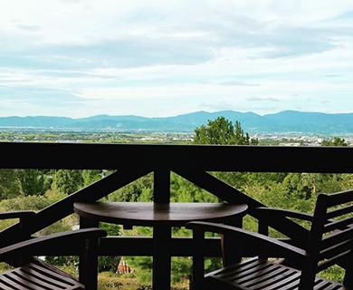 田主丸にあるあいはなカフェから見える風景